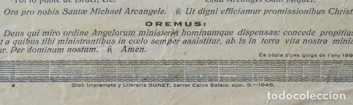 Arte: Goigs. Gozos. Sant Miquel. San Miguel. Arcàngel. 32x22 cm. Imprenta Bonet. 1946. - Foto 3 - 248587240