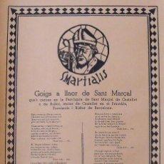 Arte: GOIGS. GOZOS. SANT MARÇAL. MARCIAL. CASTELLET O DE RUBÍÓ. PENEDÉS. MIQUEL YSART. 1957. VILAFRANCA.. Lote 248615950