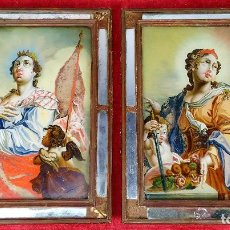 Arte: SANTA ÚRSULA Y SANTA CATALINA DE ALEJANDRÍA. PINTURA SOBRE CRISTAL. ESPAÑA. SIGLO XVII-XVIII. Lote 248667425