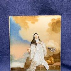 Arte: VIDRIO REPOSADO REVERSO PINTADO RELIGIOSO S XVIII SANTA TERESA DE JESUS EN EXTASIS NO MARCO 25X20CMS. Lote 248674320
