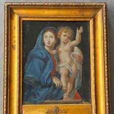 Arte: OLEO RELIGIOSO SOBRE CRISTAL , VIRGEN CON EL NIÑO . S. XIX .. Lote 248974435