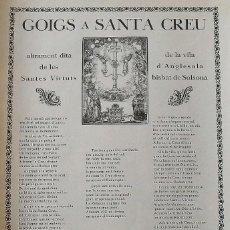 Arte: GOIGS. GOZOS. SANTA CREU. SANTA CRUZ. ANGLESOLA. BISBAT DE SOLSONA. ANTONIO FIGUERAS. TÀRREGA. 1957.. Lote 249040820