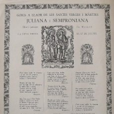 Arte: GOIGS. GOZOS. JULIANA I SEMPRONIANA. MATARÓ. TORRELL DE REUS. 1957. 32X22 CM.. Lote 249049215