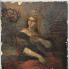 Arte: SANTA BARBARA. OLEO S/ LIENZO. FIRMADO PIERA. 1718. Lote 249395815