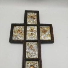 Arte: CRUZ BIZANTINA. PLATA. CERTIFICADO. VIRGEN MARIA CON EL NIÑO JESUS. VER FOTOS.. Lote 249489170