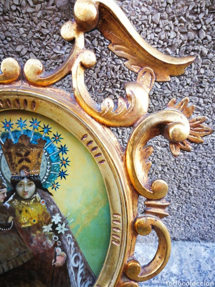 Arte: CORNUCÓPIA VIRGEN DESAMPARADOS (PINTURA ESCUELA ESPAÑOLA) SOBRE CRISTAL, S.XVIII. 47CM. PAN DE ORO. - Foto 3 - 249535475