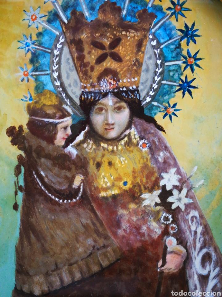 Arte: CORNUCÓPIA VIRGEN DESAMPARADOS (PINTURA ESCUELA ESPAÑOLA) SOBRE CRISTAL, S.XVIII. 47CM. PAN DE ORO. - Foto 5 - 249535475