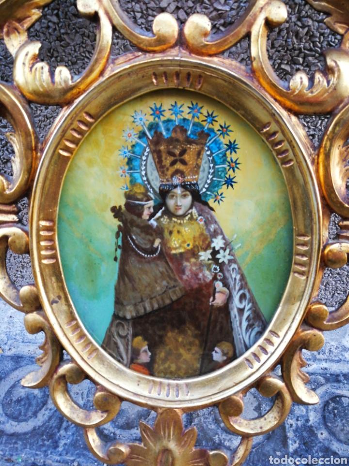 Arte: CORNUCÓPIA VIRGEN DESAMPARADOS (PINTURA ESCUELA ESPAÑOLA) SOBRE CRISTAL, S.XVIII. 47CM. PAN DE ORO. - Foto 6 - 249535475