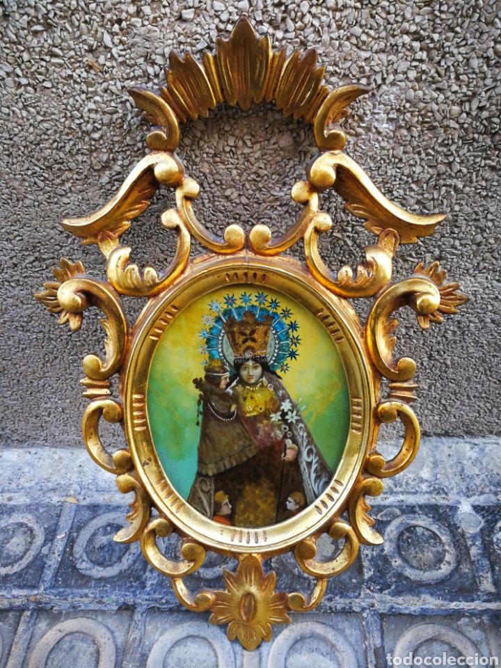 Arte: CORNUCÓPIA VIRGEN DESAMPARADOS (PINTURA ESCUELA ESPAÑOLA) SOBRE CRISTAL, S.XVIII. 47CM. PAN DE ORO. - Foto 10 - 249535475