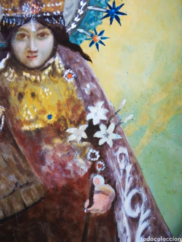 Arte: CORNUCÓPIA VIRGEN DESAMPARADOS (PINTURA ESCUELA ESPAÑOLA) SOBRE CRISTAL, S.XVIII. 47CM. PAN DE ORO. - Foto 12 - 249535475