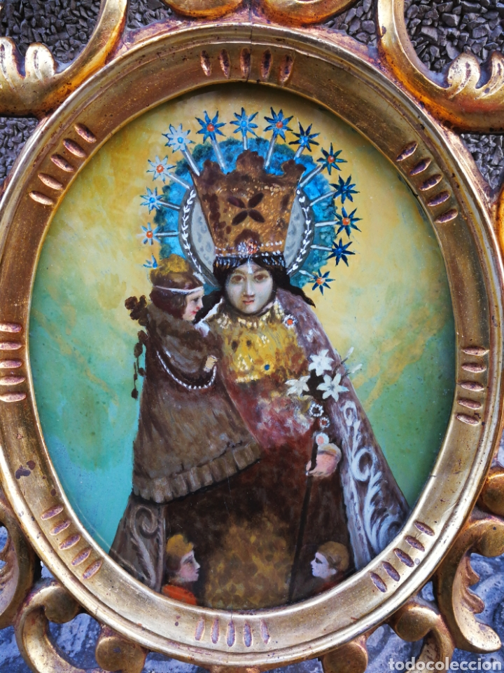 Arte: CORNUCÓPIA VIRGEN DESAMPARADOS (PINTURA ESCUELA ESPAÑOLA) SOBRE CRISTAL, S.XVIII. 47CM. PAN DE ORO. - Foto 13 - 249535475