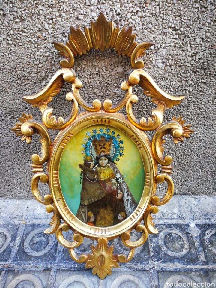 CORNUCÓPIA VIRGEN DESAMPARADOS (PINTURA ESCUELA ESPAÑOLA) SOBRE CRISTAL, S.XVIII. 47CM. PAN DE ORO. (Arte - Arte Religioso - Pintura Religiosa - Oleo)