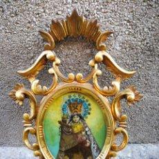 Arte: CORNUCÓPIA VIRGEN DESAMPARADOS (PINTURA ESCUELA ESPAÑOLA) SOBRE CRISTAL, S.XVIII. 47CM. PAN DE ORO.. Lote 249535475