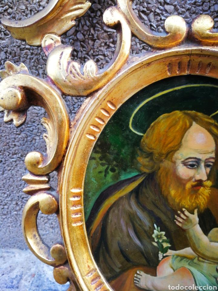 Arte: CORNUCÓPIA SAN JOSÉ Y NIÑO JESÚS (PINTURA ESCUELA ESPAÑOLA) SOBRE CRISTAL, S.XVIII,46CM. PAN DE ORO. - Foto 6 - 249537825
