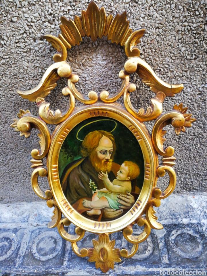 Arte: CORNUCÓPIA SAN JOSÉ Y NIÑO JESÚS (PINTURA ESCUELA ESPAÑOLA) SOBRE CRISTAL, S.XVIII,46CM. PAN DE ORO. - Foto 10 - 249537825