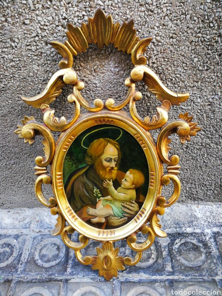 CORNUCÓPIA SAN JOSÉ Y NIÑO JESÚS (PINTURA ESCUELA ESPAÑOLA) SOBRE CRISTAL, S.XVIII,46CM. PAN DE ORO. (Arte - Arte Religioso - Pintura Religiosa - Oleo)