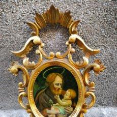 Arte: CORNUCÓPIA SAN JOSÉ Y NIÑO JESÚS (PINTURA ESCUELA ESPAÑOLA) SOBRE CRISTAL, S.XVIII,46CM. PAN DE ORO.. Lote 249537825