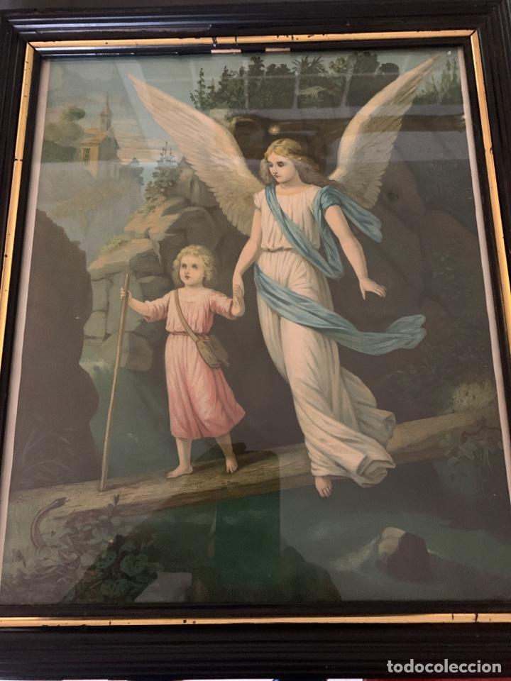 PRECIOSO ÁNGEL DE LA GUARDA EN MARCO ANTIGUO, 46 X 40 X 2 (Arte - Arte Religioso - Pintura Religiosa - Otros)