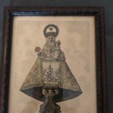 Arte: ANTIGUO GRABADO COLOREADO DE LA VIRGEN DE COVADONGA ,LA SANTINA, PRECIOSO, MARCO ANTIGUO, 47 X 29. Lote 250128025