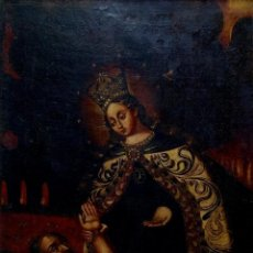 Art: VIRGEN DEL CARMEN RESCATANDO ALMA DEL PURGATORIO. PINTURA AL ÓLEO. ESPAÑA. SIGLO XVIII-XIX. Lote 251177080