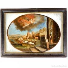 Arte: ÓLEO SOBRE CRISTAL SAN MIGUEL ARCÁNGEL - SIGLO XVIII. Lote 251319955