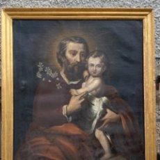 Art: OLEO LIENZO SAN JOSE NIÑO JESUS PINTURA RELIGIOSA IGLESIA ESCUELA ESPAÑOLA S XIX F. LUQUE 1868 C. Lote 251502795