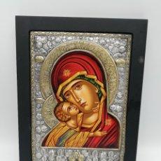 Arte: ICONO BIZANTINO. PLATA. CERTIFICADO. VIRGEN MARIA Y EL NIÑO JESUS. MEDIDAS : 25 X 19.5 CM APROX. VER. Lote 252137830