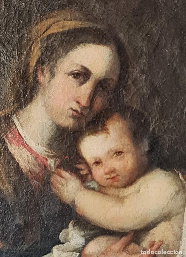 Arte: Virgen con Niño. Óleo sobre tela. Oil on canvas. Siglo 18th century. Anónimo. Spanish school - Foto 2 - 248219940