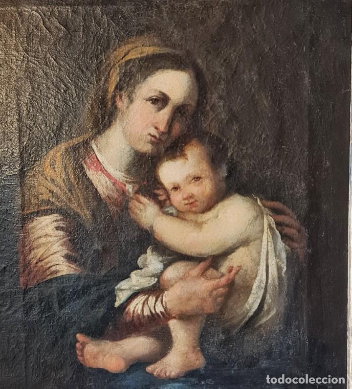 Arte: Virgen con Niño. Óleo sobre tela. Oil on canvas. Siglo 18th century. Anónimo. Spanish school - Foto 3 - 248219940