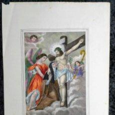 Arte: SANTA LUTGARDA - LITOGRAFIA COLOR - CIRCA 1825 - 32X21CM - ABOGADA PARTOS DIFICILES. Lote 252426415