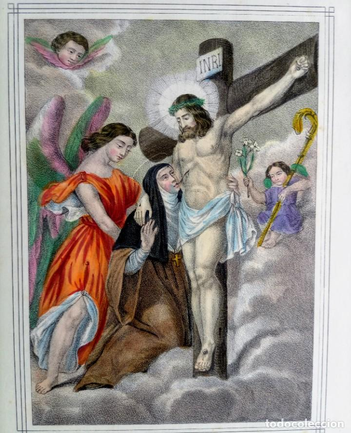 Arte: SANTA LUTGARDA - LITOGRAFIA COLOR - circa 1825 - 32x21cm - ABOGADA PARTOS DIFICILES - Foto 2 - 252426415