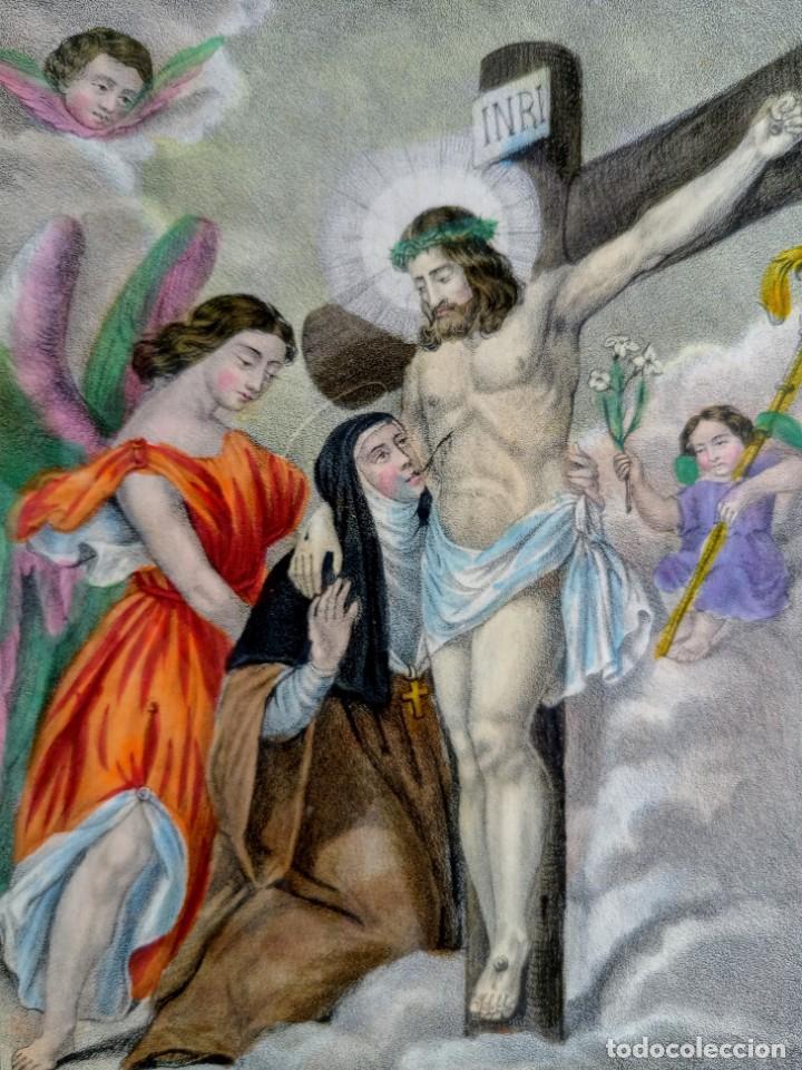 Arte: SANTA LUTGARDA - LITOGRAFIA COLOR - circa 1825 - 32x21cm - ABOGADA PARTOS DIFICILES - Foto 3 - 252426415