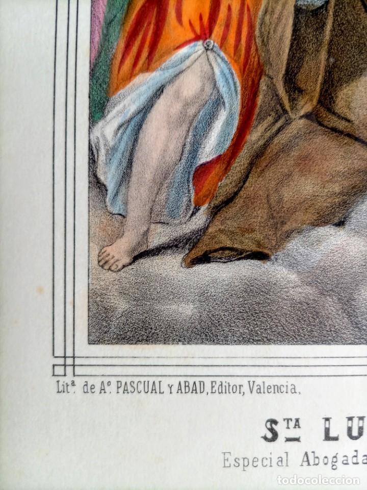 Arte: SANTA LUTGARDA - LITOGRAFIA COLOR - circa 1825 - 32x21cm - ABOGADA PARTOS DIFICILES - Foto 5 - 252426415