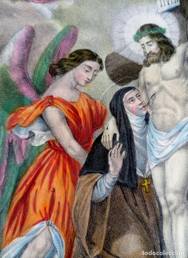 Arte: SANTA LUTGARDA - LITOGRAFIA COLOR - circa 1825 - 32x21cm - ABOGADA PARTOS DIFICILES - Foto 6 - 252426415