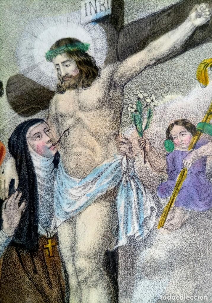 Arte: SANTA LUTGARDA - LITOGRAFIA COLOR - circa 1825 - 32x21cm - ABOGADA PARTOS DIFICILES - Foto 7 - 252426415