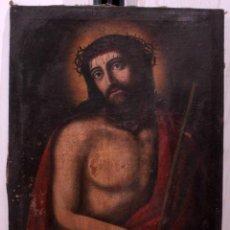 Arte: ECCE HOMO, PINTADO AL OLEO SOBRE LIENZO. S.XVIII. CRISTO. 81X62CM. Lote 252795475