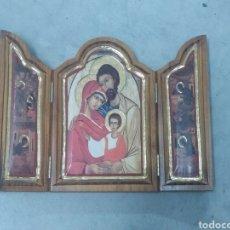 Arte: RETABLO TRÍPTICO DE LA SAGRADA FAMILIA EN MADERA. Lote 253061280