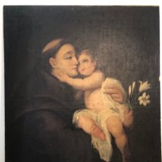 Arte: OLEO SOBRE TELA DE SAN ANTONIO ANTIGUO. CIRCA,SIGLO XVIII. PARA RESTAURAR. 65 X 80.. Lote 253092695