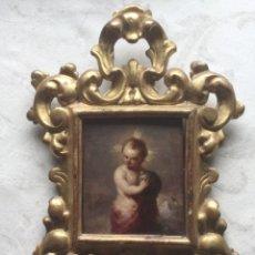 Arte: NIÑO JESUS SALVATOR MUNDI. OLEO SOBRE TABLA ENMARCADO EN CORNUCOPIA. ESCUELA ESPAÑOLA S. XIII. Lote 253104760
