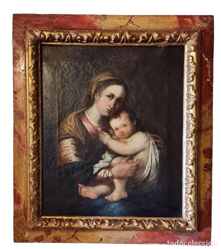 VIRGEN CON NIÑO. ÓLEO SOBRE TELA. OIL ON CANVAS. SIGLO 18TH CENTURY. ANÓNIMO. SPANISH SCHOOL (Arte - Arte Religioso - Pintura Religiosa - Oleo)