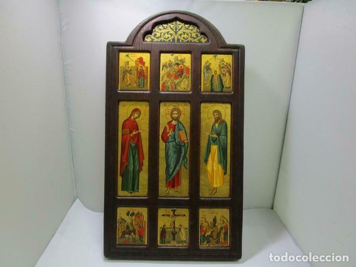 MAGNIFICO ICONO MADERA IMAGENES CON CERTIFICADO 29,5 X 22 CM OBRA DE ARTE (Arte - Arte Religioso - Iconos)