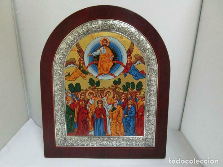 MARAVILLOSO ICONO PLATA LEY 998 MM 31 X 26 CM PARA COLGAR O SOBREMESA CERTIFICADO (Arte - Arte Religioso - Iconos)