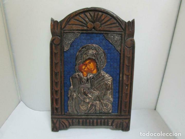 MAGNIFICO ICONO MADRE DE DÍOS MADERA Y PLATA DE LEY 950 MM CERTIFICADO 29 X 20 CM (Arte - Arte Religioso - Iconos)