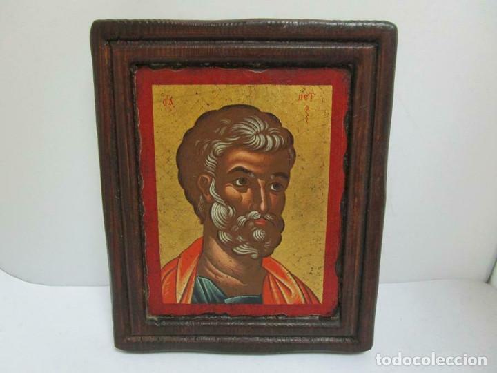 PRECIOSO ICONO PINTADO SOBRE MADERA PAN DE ORO IMAGEN SAGRADA 19,5 X 16 CM CON CERTIFICADO (Arte - Arte Religioso - Iconos)