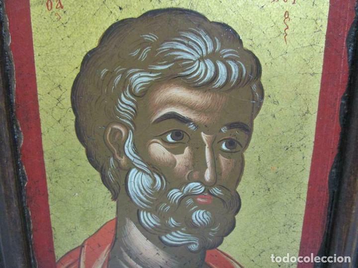 Arte: PRECIOSO ICONO PINTADO SOBRE MADERA PAN DE ORO IMAGEN SAGRADA 19,5 X 16 CM CON CERTIFICADO - Foto 2 - 253360290