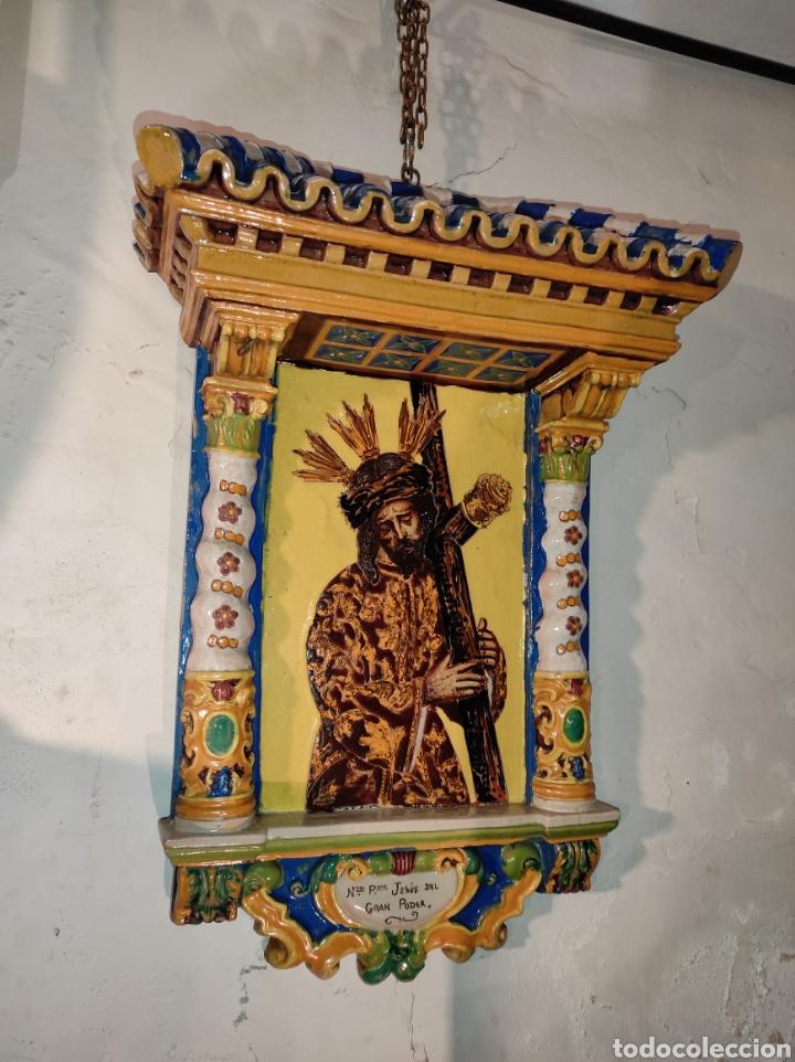 Arte: Antiguo Retablo Cerámico Jesús Del Gran Poder - Foto 11 - 139098413