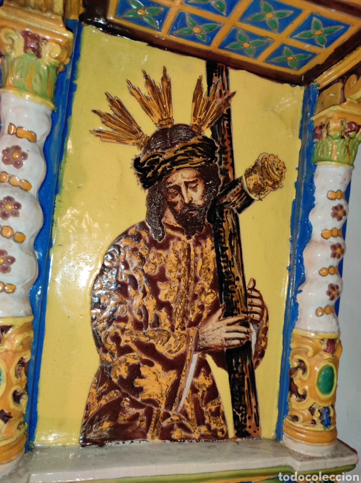 Arte: Antiguo Retablo Cerámico Jesús Del Gran Poder - Foto 12 - 139098413
