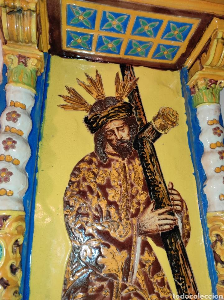Arte: Antiguo Retablo Cerámico Jesús Del Gran Poder - Foto 14 - 139098413
