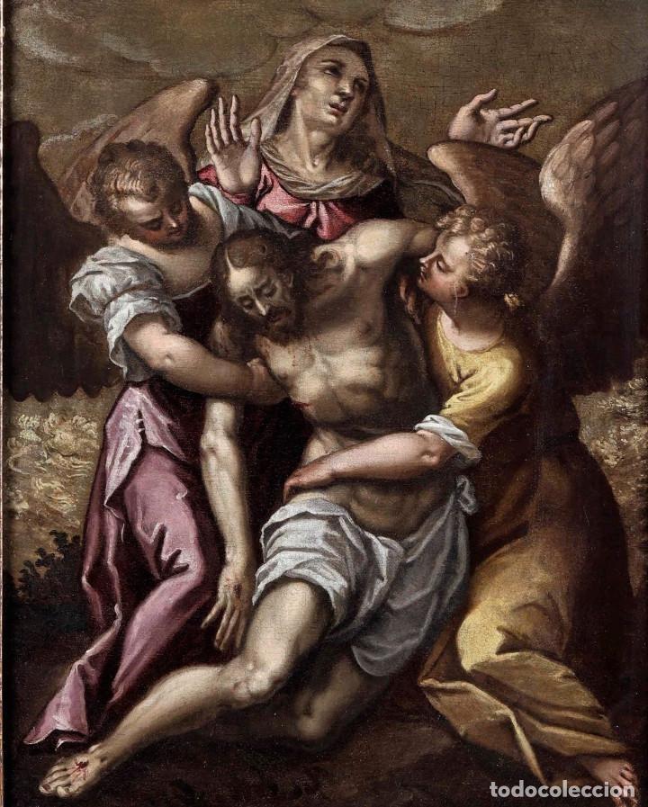 ESCUELA ITALIANA DEL SIGLO XVI / XVII. CRISTO MUERTO SOSTENIDO POR DOS ÁNGELES. (Arte - Arte Religioso - Pintura Religiosa - Oleo)