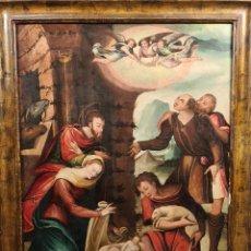 Arte: NACIMIENTO DE JESÚS. FRAGMENTO DE RETABLO. ÓLEO SOBRE TABLA. SIGLO XVI-XVII.. Lote 253606775